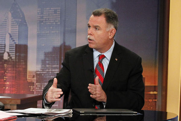Chicago Police Supt. Garry McCarthy speaks to co-anchors Larry Potash and Robin Baumgarten regarding the changes at the police department at WGN-TV studios in Chicago today.