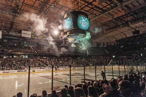 The Chicago Wolves pull out all the stops to draw fans, including shooting off fireworks indoors. (Lenny Gilmore/RedEye)