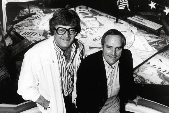 "Leslie Bricusse and Allan Jay Friedman on the set of  ""One Shining Moment"" in Chicago in 1983."