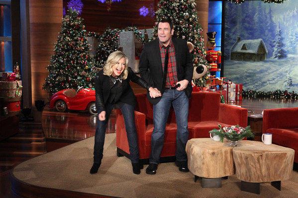 john travolta and olivia newton john on ellen on - Olivia Newton John This Christmas