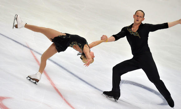 Caydee Denney and John Coughlin at last month's Rostelecom Cup Grand Prix event. (Yuri Kadobnov / Getty Images)
