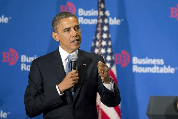 President Obama addresses members of the Business Roundtable at their headquarters in Washington on Wednesday.