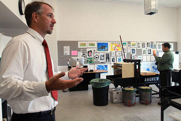 Associate Dean of Visual and Performing Arts Scott Miller talks about the features of the printmaking studio in Broward College's new Fine Arts Building on the Davie campus.
