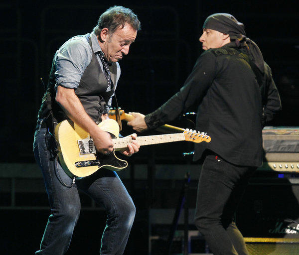 Bruce Springsteen and E Street Band guitarist Steve Van Zandt during their Anaheim show.
