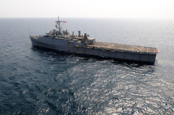 The Ponce transits the Persian Gulf en route to Bahrain, according to the U.S. Navy.