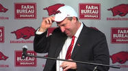 FAYETTEVILLE, Ark. (AP) - Arkansas has introduced Bret Bielema as its head coach, bringing to an end a nearly eight-month search for Bobby Petrino's long-term replacement.