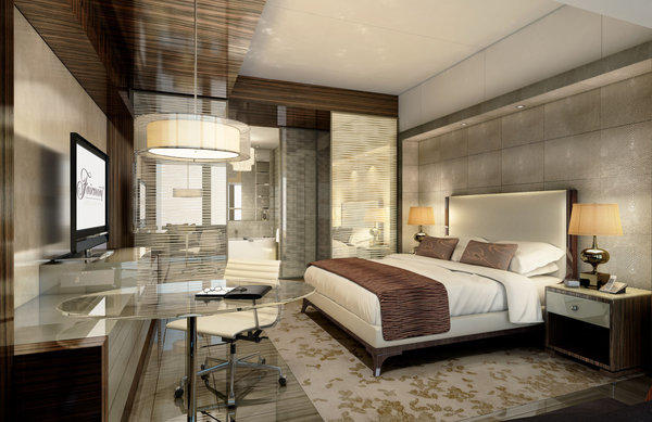An artist's rendering shows a guest room at Fairmont Nanjing in China. The hotel is set to open in 2013, followed by two others in China.