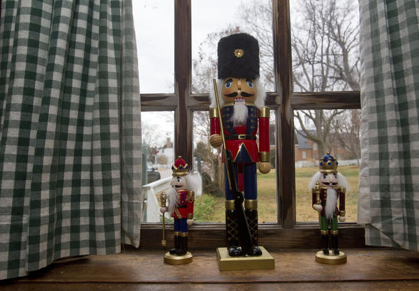 Nutcrackers and other holiday decorations adorn the walls of Carrot Tree Restaurant in Yorktown.