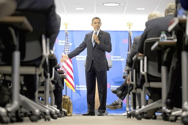 President Obama speaks before the Business Roundtable in Washington.