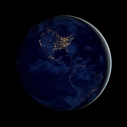 A composite image, assembled from data beamed in by the Suomi NPP satellite in spring and fall, shows the continental United States after night has fallen.