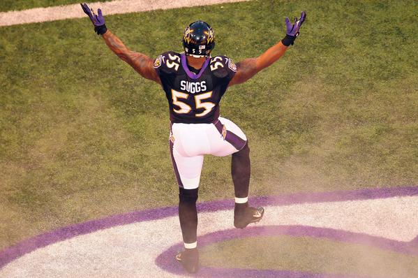 Ravens linebacker Terrell Suggs is introduced before the Ravens played the Steelers on Sunday.