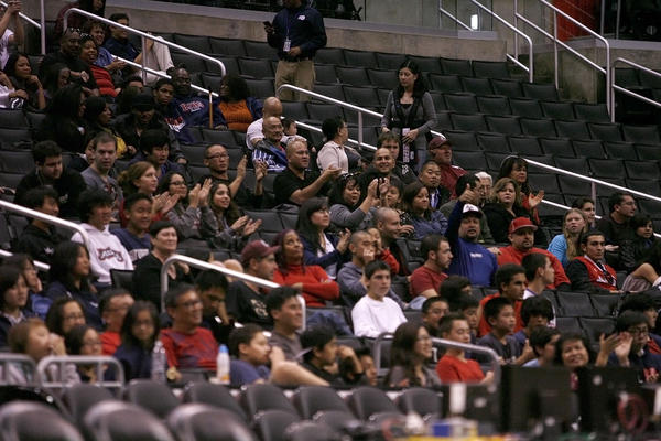 Bell-Jeff's fans clap during game basketball game vs. San Gabriel Academy at Staples Center in Los Angeles on Wednesday, December 5, 2012.  Bell-Jeff won 64-51.