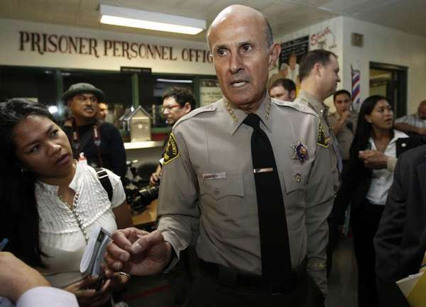 Los Angeles County Sheriff Lee Baca, who is supervises the largest jail system in the nation, talks to reporters at the Men's Central Jail in downtown L.A. on Oct. 3.
