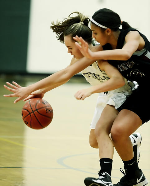 South Hagerstown's Lindsey Bedregal tries to keep Winters Mill's Tasha Magruder away from her dribble in the second quarter of Wednesday night's girls basketball game at South.