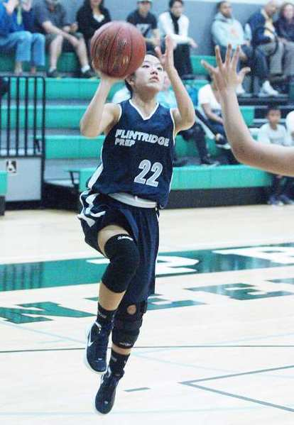 Maya Okamoto scored 13 points for the Flintridge Prep, including a key three-pointer to bring the Rebels within 2 points with 6 seconds remaining.
