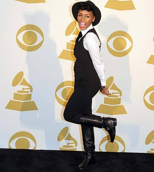Singer Janelle Monae poses in the press room at The GRAMMY Nominations Concert Live!! held at Bridgestone Arena on December 5, 2012 in Nashville, Tennessee.