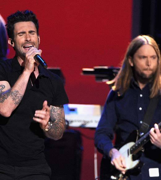 Adam Levine and James Valentine onstage at The GRAMMY Nominations Concert Live!! held at Bridgestone Arena on December 5, 2012 in Nashville, Tennessee.