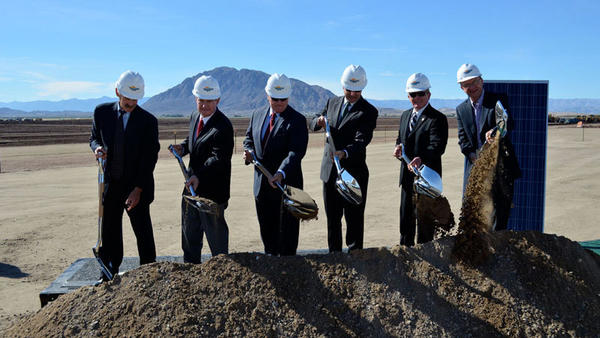 Officials dig in at the groundbreaking ceremony for the Centinela Solar Project near Mount Signal. The project is expected to generate 170 megawatts for San Diego Gas & Electric and should reach commercial operation in fall 2014.