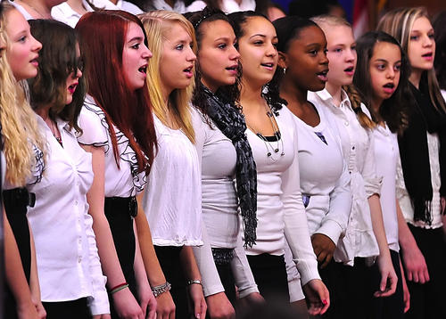 Members of the Martinsburg (W.Va.) North Middle School choir sing during the school's winter concert Wednesday.