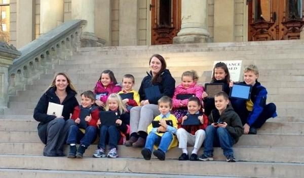 Boyne City Elementary School students on steps of the state capitol building in Lansing.