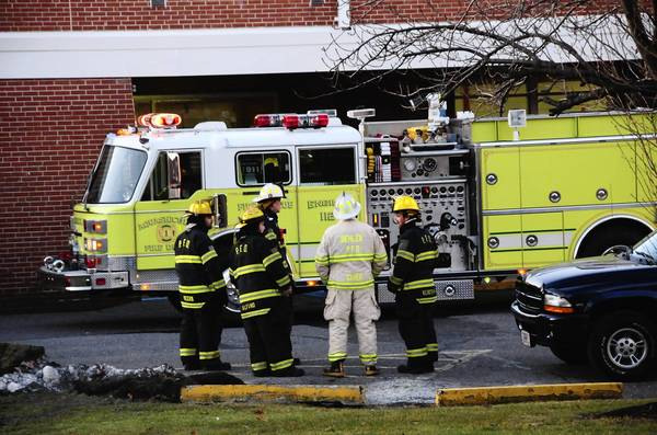 Firefighters respond to a fire alarm Thursday morning at Palmerton High School after a custodian reported smoke in a classroom.