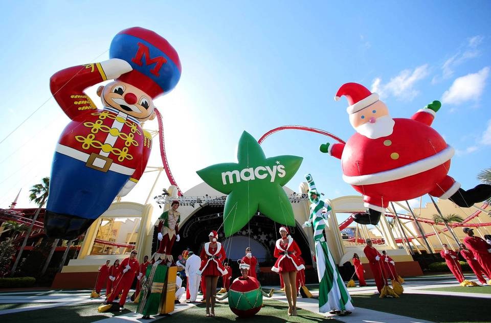 Universal shows off some of the Macy's Holiday Parade balloons and characters before its Christmas activities began last week.