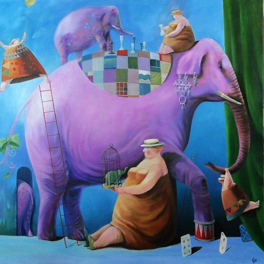 """Circus II,"" by Izya Shlosberg, is on display at the Bernice Kish Gallery at Slayton House in the Wilde Lake Village Center."