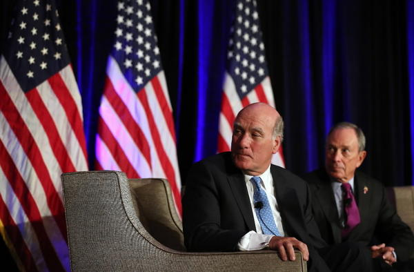 Former White House chief of staff Bill Daley, shown here with New York Mayor Michael Bloomberg, have rented out a two-bedroom, 2,050-square-foot condo unit they own on the 41st floor of the Park Tower for $6,000 a month.
