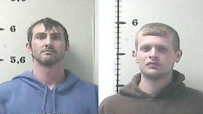 Nicholas Goode, left, and Nathan Griffin, right, along with an unidentified juvenile have been charged with attempting to take property from a Lincoln County farm.