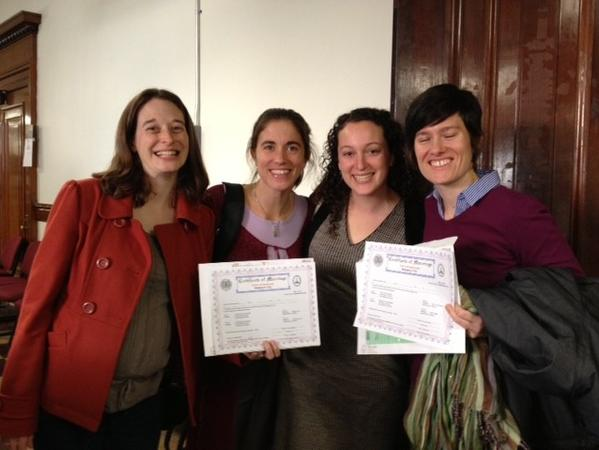 From left to right, Alli Harper and Jennifer Monti of Timonium, and Jessie Weber and Nancy Eddy of Charles Village, received their marriage licenses at the Clarence M. Mitchell Jr. Courthouse the first day they were available to same-sex couples.
