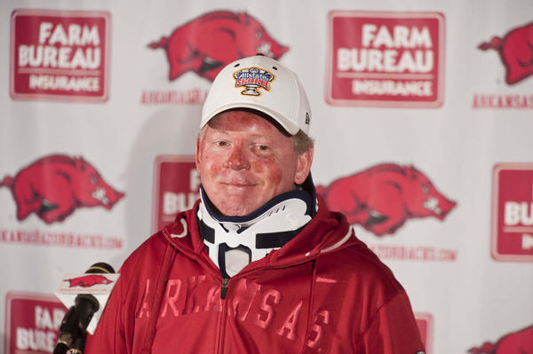 Arkansas Razorback head coach Bobby Petrino speaks at a press conference at Razorback Stadium following a motorcycle accident he sustained on April 1.