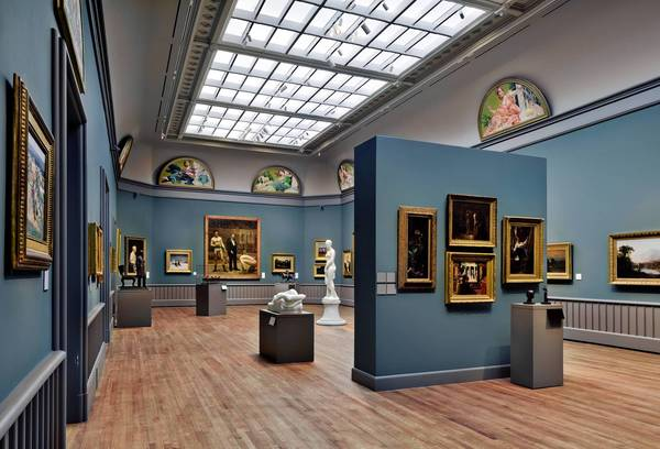 View of American paintings and sculpture galleries.