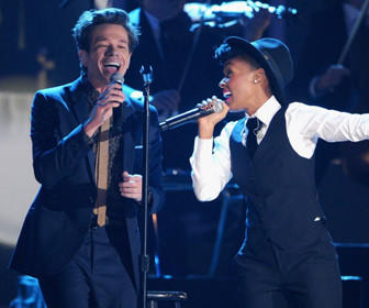 Nate Ruess of Fun. and Janelle Monae perform onstage last night at The GRAMMY Nominations Concert Live!! held at Bridgestone Arena in Nashville, Tenn.