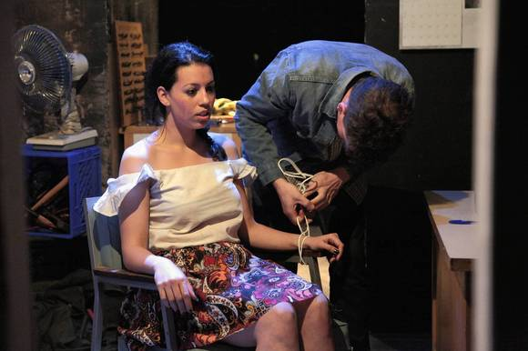 "Paloma Nozicka and Adam Brown in Jackalope Theatre's production of ""Long Way Go Down."""