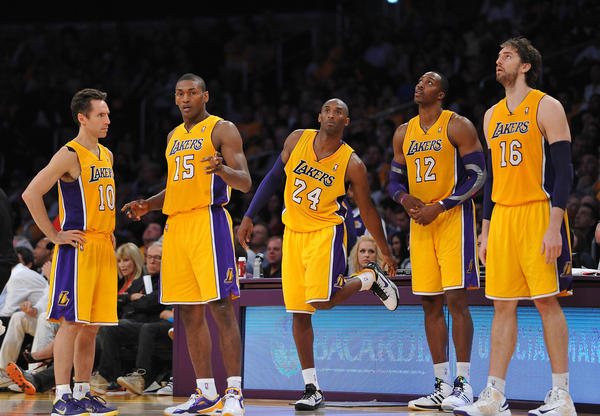 Los Angeles Lakers point guard Steve Nash (10), small forward Metta World Peace (15), shooting guard Kobe Bryant (24), center Dwight Howard (12) and power forward Pau Gasol (16) during the game against the Dallas Mavericks at the Staples Center.