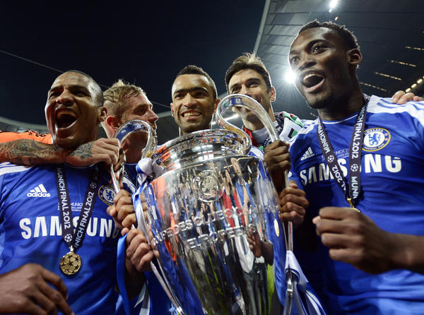 Players of Chelsea celebrate with the UEFA Champions League trophy after their final soccer match against Bayern Munich at the Allianz Arena in Munich