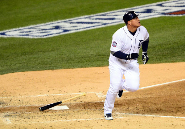 etroit Tigers third baseman Miguel Cabrera (24) hits a two-run home run against the San Francisco Giants in the third inning during game four of the 2012 World Series at Comerica Park.