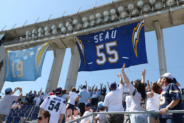 San Diego Chargers fans as newly retired jersey of late Chargers linebacker Junior Seau is unveiled before a game against the Tennessee Titans at Qualcomm Stadium