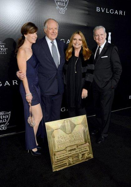 From left, Rodeo Drive Committee chair Peri Ellen Berne, honoree Nicola Bulgari, Walk Of Style selection committee chair Wanda McDaniel and Rodeo Drive Committee president Jim Jahant at the Rodeo Drive Walk of Style ceremony honoring the Bulgari brand.