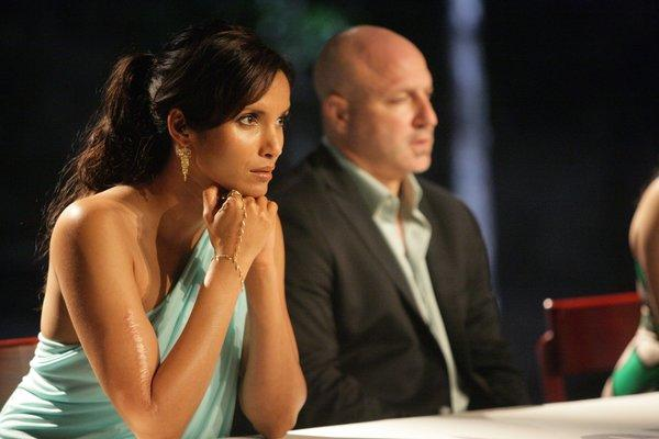 Judges Padma Lakshmi, left and Tom Colicchio right, looking stern during a judging of a previous season of the show.