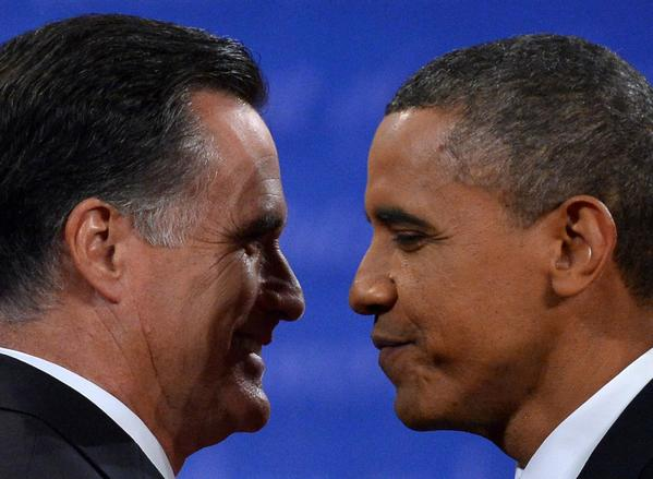President Obama greets Mitt Romney following the third and final presidential debate at Lynn University in Boca Raton, Fla.