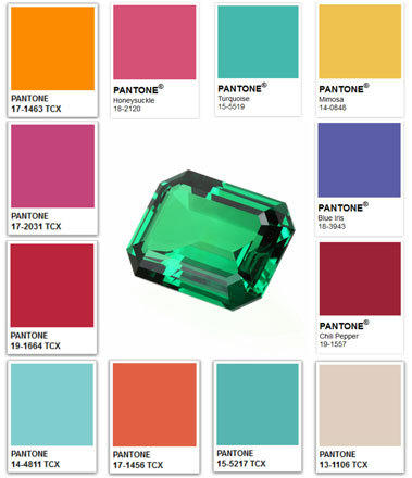 Pantone's color of the year for 2013 is Emerald, shown in the center. It is surrounded by previous colors of the year, clockwise from top left: Tangerine Tango (2012), Honeysuckle (2011), Turquoise (2010), Mimosa (2009), Blue Iris (2008), Chili Pepper (2007), Sand Dollar (2006), Blue Turquoise (2005), Tigerlily (2004), Aqua Sky (2003), True Red (2002) and Fuchsia Rose (2001).