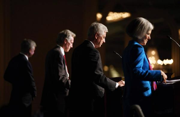 Presidential candidates, right to left, Jill Stein of the Green Party, Rocky Anderson of the Justice Party, Virgil Goode of the Constitution Party and Gary Johnson of the Libertarian Party participate in a debate in Chicago.