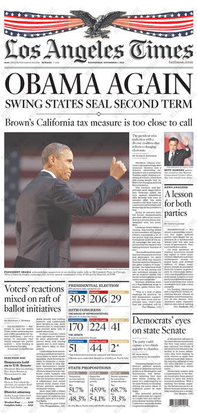 The Los Angeles Times' front page the day after the election.