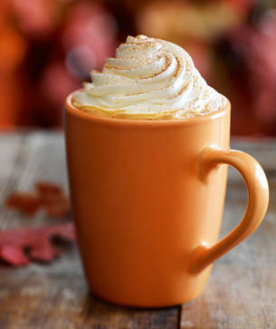 Starbucks' pumpkin spice latte <br/><br/> Calories (for a 16-ounce grande with whole milk and whipped cream): 380