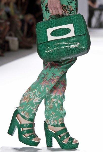 An example of Pantone's Color of the Year for 2013, Emerald green, from Nanette Lepore's spring 2013 runway collection shown during New York Fashion Week.