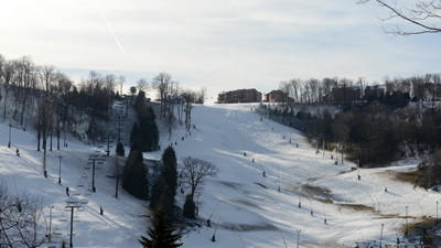 Seven Springs resort had snow Thursday afternoon.