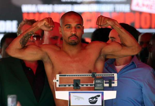 Andre Ward weighs in for his fight against Chad Dawson in September.