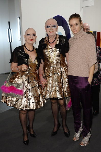 Olga Sorokina with Berlin performance artists Eva and Avele at Art Basel Miami Beach 2012 - VIP Preview at the Miami Beach Convention Center on December 5, 2012 in Miami Beach, Florida.