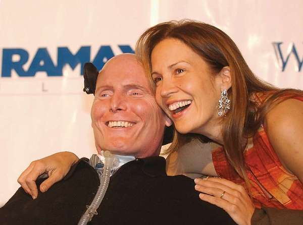 The story of Christopher Reeve, seen here in 2006 with his wife, Dana, helped get the California stem cell program passed.